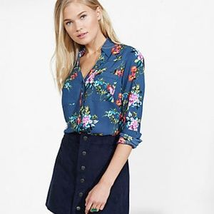 Express Floral Slim Fit Portofino Shirt